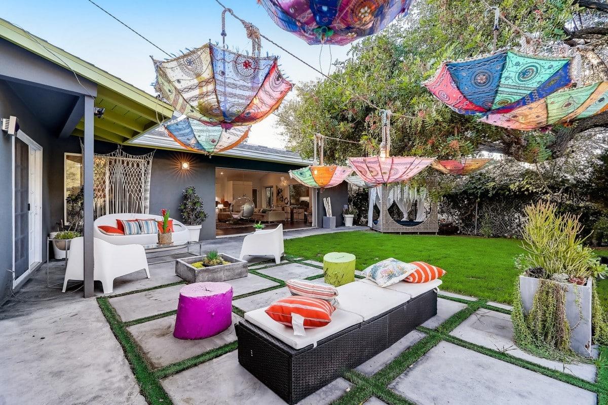 backyard retreat decorated for kids