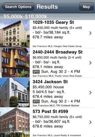 List of Homes on iPhone App