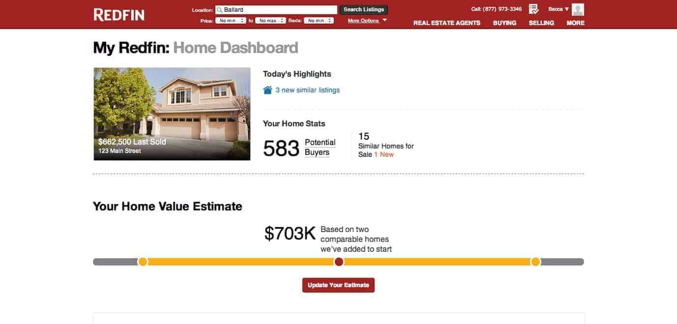 Selling your home starts with the Redfin Home Dashboard