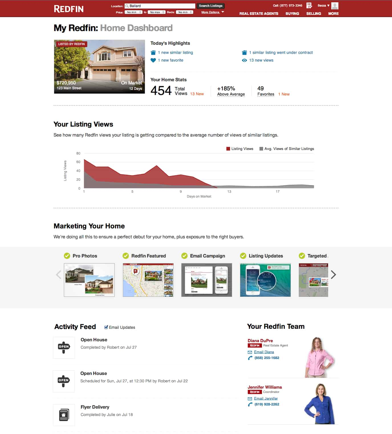 The Redfin Home Dashboard makes selling your home more convenient, with an online checklist of every step in the process.